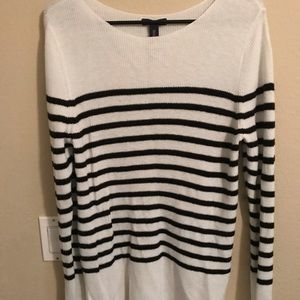 Woman's black and white sweater